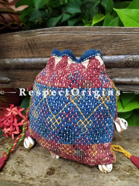 Beautiful Blue and Pink Kantha Quilted cotton Potli Drawstring Grooming/ Toiletry Cotton Bag; 10 X 8 Inches; RespectOrigins.com