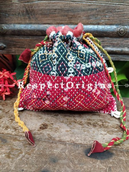 Beautiful Black and Pink Kantha Quilted cotton Potli Drawstring Grooming/ Toiletry Cotton Bag; 10 X 8 Inches; RespectOrigins.com