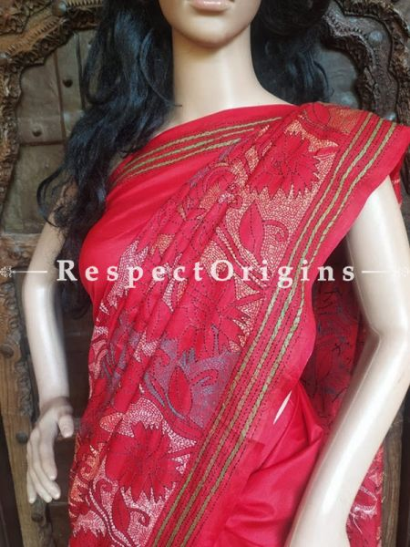Classic Kantha Stitch Red Silk Saree; Intricate Floral Design All-Over; Blouse Included; RespectOrigins.com
