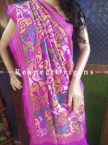 Purple Kantha Stitch Thread Work Silk Saree; Floral Design All-Over; Blouse Included; RespectOrigins.com