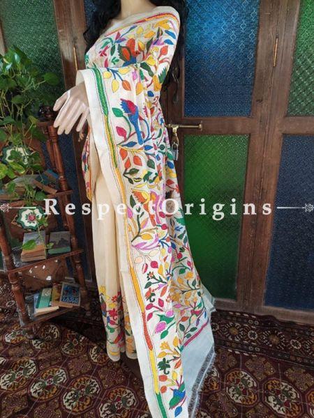 Beige Kantha Stitch Thread Work Silk Saree; Floral Design All-Over; Blouse Included; RespectOrigins.com