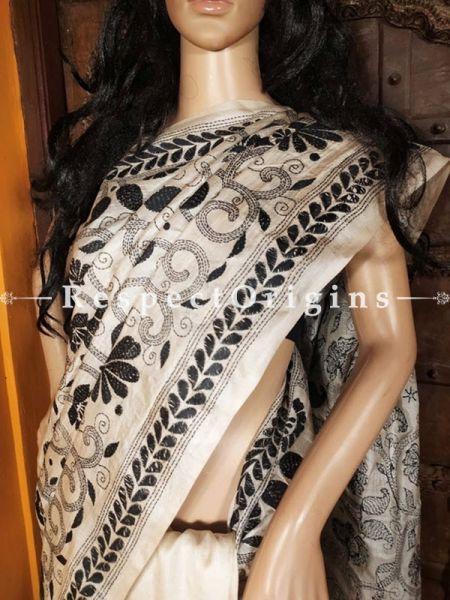 Unique Kantha Stitch Thread Work Black on Beige Base Silk Saree; Floral and Peacock Design Pallu; Blouse Included; RespectOrigins.com