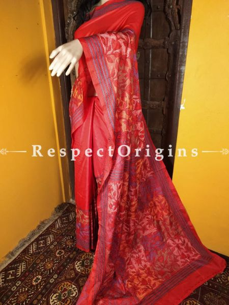 Red Kantha Stitch Thread Work Silk Saree; Floral Design All-Over; Blouse Included; RespectOrigins.com