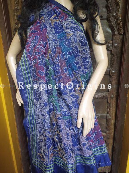 Intricate Blue Kantha Stitch Thread Work Silk Saree; Floral Design All-Over; Blouse Included; RespectOrigins.com