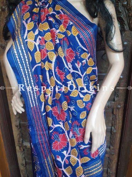 Blue Kantha Stitch Thread Work Silk Saree; Intricate Floral Design; Blouse Included; RespectOrigins.com