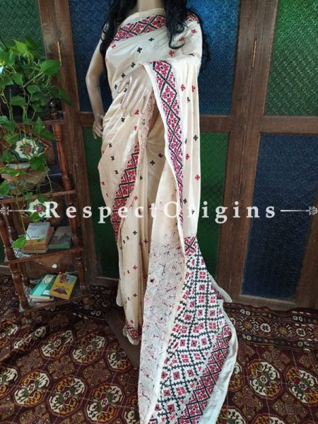 Classic Beige Kantha Stitch Thread Work Silk Saree; Intricate Motif with Black and Red Border; Blouse Included; RespectOrigins.com