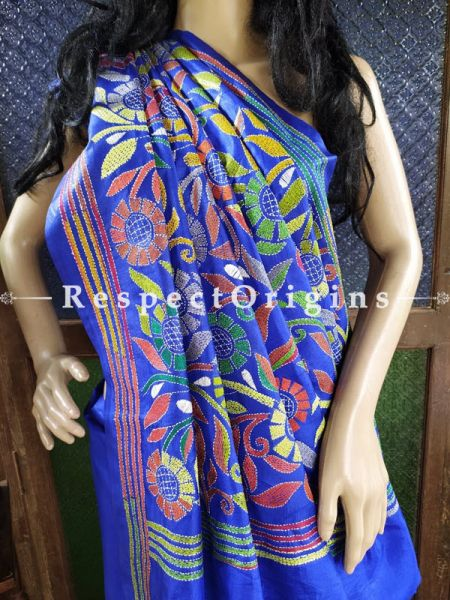 Unique Intricate Floral Design Blue Kantha Stitch Thread Work Silk Saree; Blouse Included; RespectOrigins.com