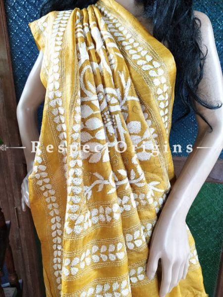 Magnificent Kantha Stitch Thread Work White on Mustard Base Silk Saree; Floral & Peacock Design Pallu; Blouse Included; RespectOrigins.com