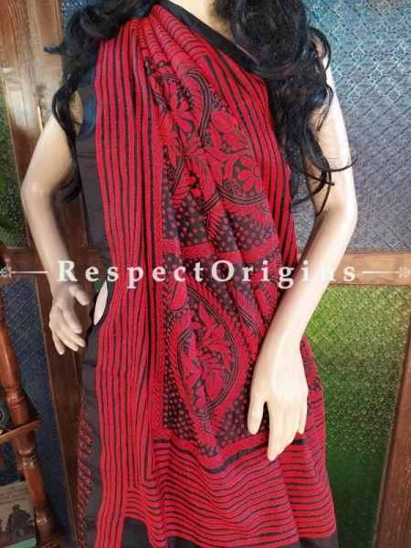 Elegant Kantha Stitch Red on Black Base Silk Saree; Floral Design All-Over; Blouse Included; RespectOrigins.com