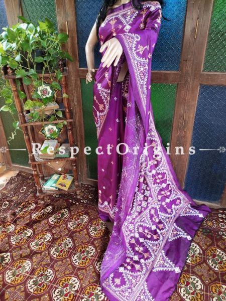 Purple Kantha Stitch Thread Work Silk Saree; Intricate Design With Mirror Work Pallu; Blouse Included; RespectOrigins.com