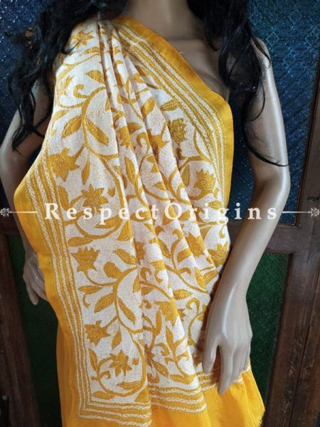 Splendid Kantha Stitch Thread Work White on Mustard Base Silk Saree; Floral Design; Blouse Included; RespectOrigins.com