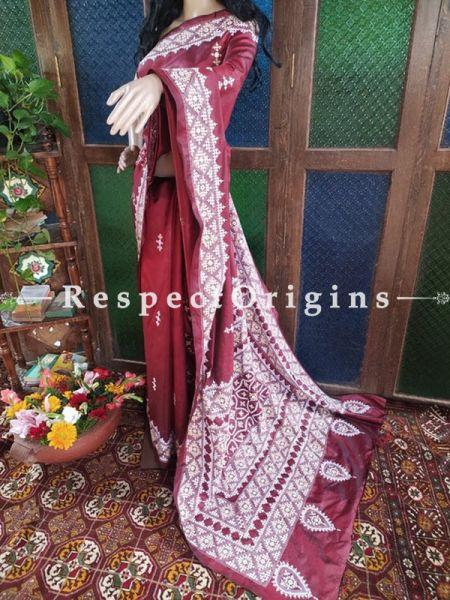 Stunning Kantha Stitch Thread Work White On Maroon Base Silk Saree; Intricate Motif and Mirror Work Pallu; Blouse Included; RespectOrigins.com