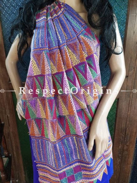 Blue Intricate Kantha Stitch Thread Work Silk Saree; Geometrical Design; Blouse Included; RespectOrigins.com