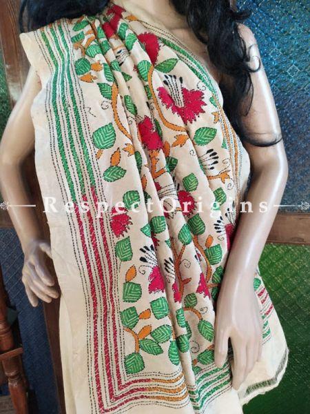 Stunning Kantha Stitch Beige Silk Saree; Floral Design All-Over; Blouse Included; RespectOrigins.com