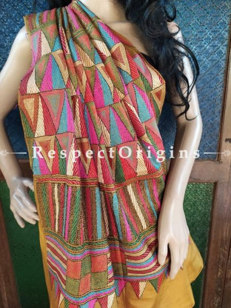 One of a Kind Kantha Stitch Mustard Silk Saree; Geometrical Design All-Over; Blouse Included; RespectOrigins.com