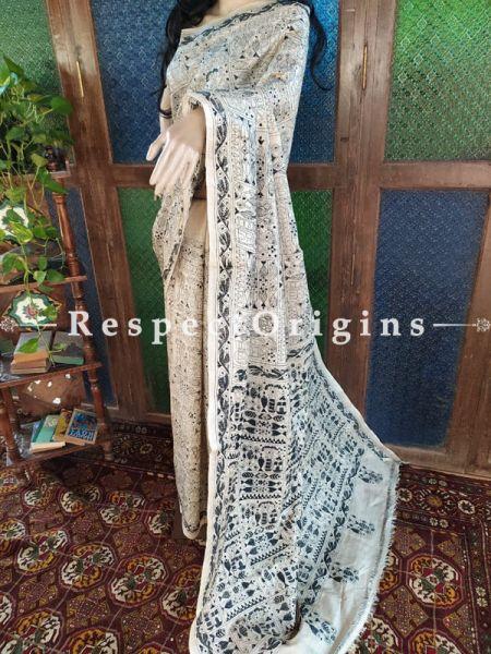 Unique Kantha Stitch Black On Beige Base Silk Saree; Floral Design All-Over; Blouse Included; RespectOrigins.com