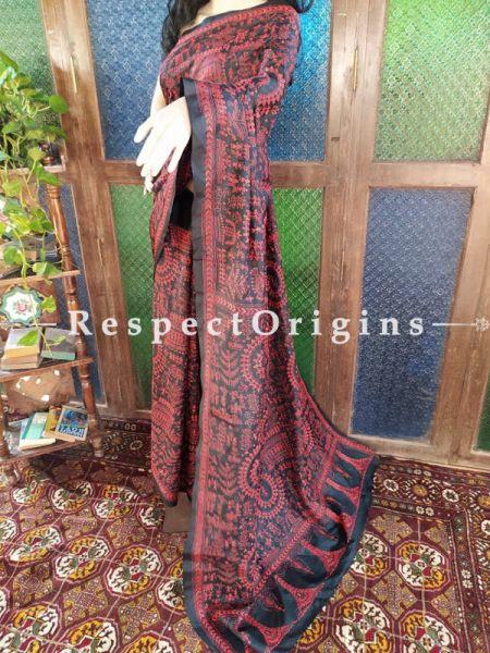 Stunning Kantha Stitch Red on Black Base Silk Saree; Intricate Tribal Motifs; Blouse Included; RespectOrigins.com