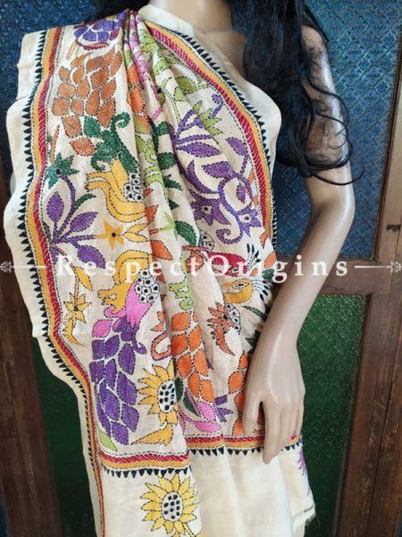 Beautiful Kantha Stitch Beige Silk Saree; Floral Design; Blouse Included; RespectOrigins.com