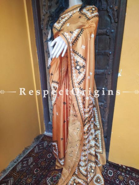 Intricate Kantha Embroidered Mustard Silk Saree; Blouse Included; RespectOrigins.com