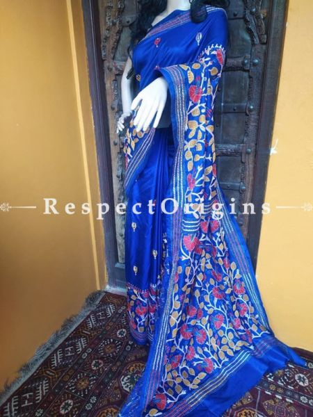 Intricate Kantha Embroidered Blue Silk Saree; Floral Design All-Over; Blouse Included; RespectOrigins.com