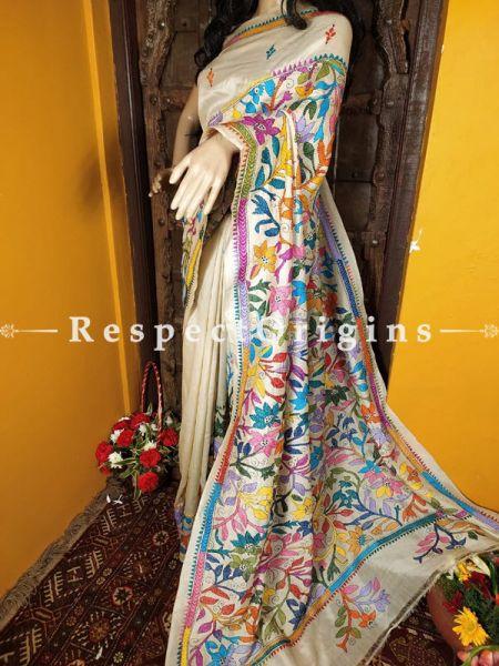 Charming Kantha Stitch Beige Silk Saree; Floral Design All-Over; Blouse Included; RespectOrigins.com