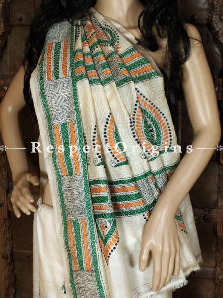 One of a Kind Kantha Stitch Green and Orange on Beige Base Silk Saree; Floral Design All-Over; Blouse Included; RespectOrigins.com