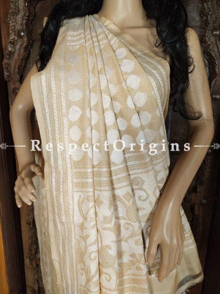 Gorgeous Beige Kantha Stitch Silk Saree; Floral Design All-Over; Blouse Included; RespectOrigins.com