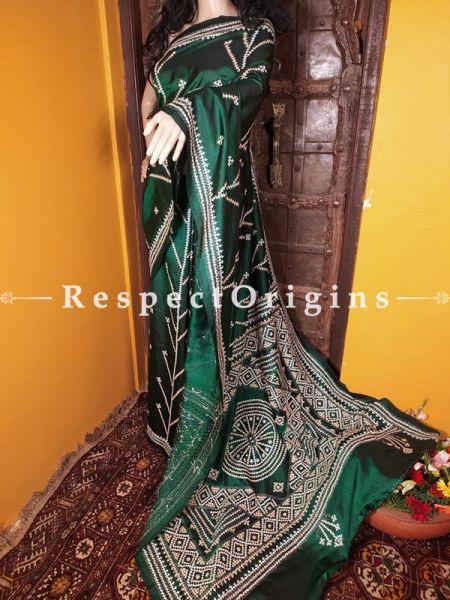 Fine Work Kantha Stitch White on Green Base Silk Saree; Floral Design All-Over; Blouse Included; RespectOrigins.com