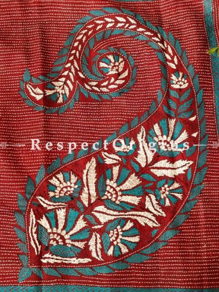 Unique Kantha Stitch White and Blue on Red Silk Saree; Floral Design All-Over; Blouse Included; RespectOrigins.com
