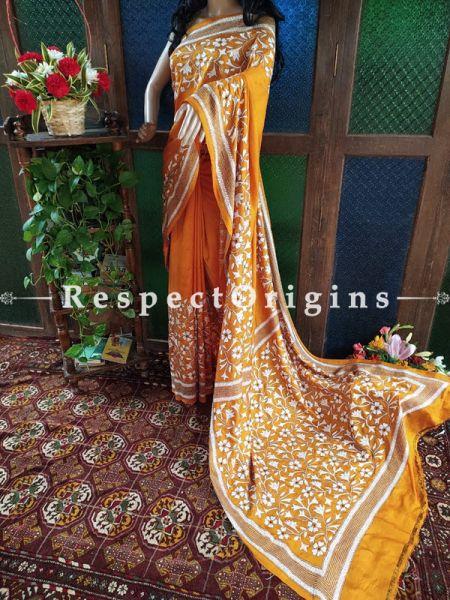 Elegant Kantha Stitch Orange Silk Saree; Floral Design All-Over; Blouse Included; RespectOrigins.com