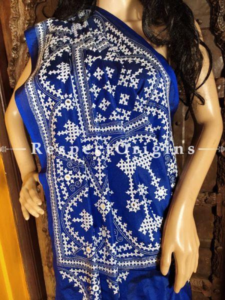 Stunning Kantha Stitch Blue Silk Saree; Floral Design All-Over; Blouse Included; RespectOrigins.com