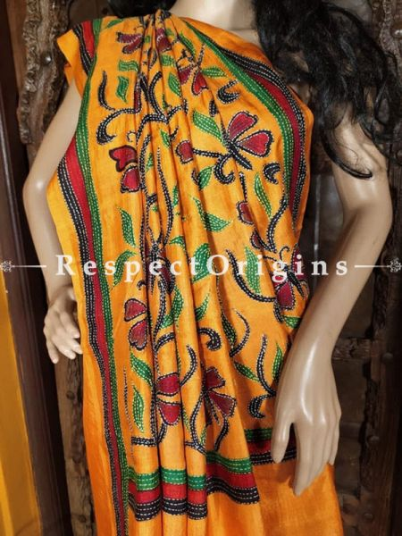 Fabulous Kantha Stitch Orange Silk Saree; Floral Design All-Over; Blouse Included; RespectOrigins.com