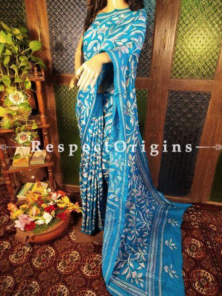 One of a Kind Kantha Stitch Blue Silk Saree; Floral Design All-Over; Blouse Included; RespectOrigins.com