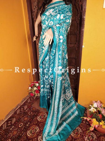 Splendid Kantha Stitch Blue Silk Saree; Floral Design All-Over; Blouse Included; RespectOrigins.com