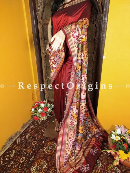 Magnificent Kantha Stitch Red Silk Saree; Floral Design All-Over; Blouse Included; RespectOrigins.com