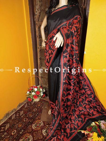Unique Kantha Stitch Red on Black Silk Saree; Floral Design All-Over; Blouse Included; RespectOrigins.com
