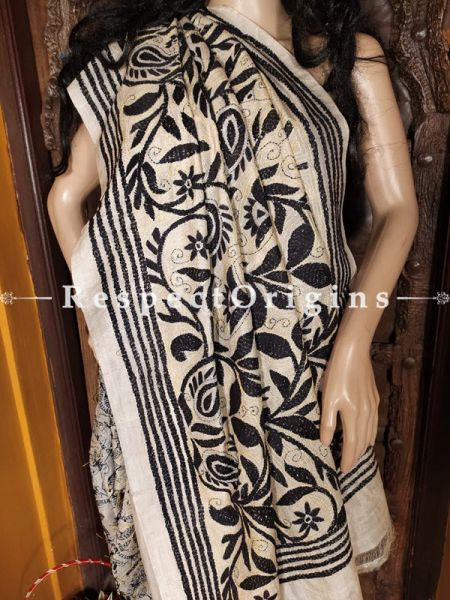 Classic Kantha Stitch Black on Beige Silk Saree; Floral Design All-Over; Blouse Included; RespectOrigins.com