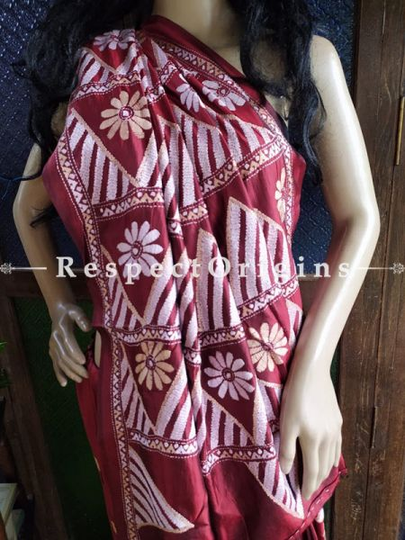 Magnificent Kantha Stitch White on Maroon Silk Saree; Floral Design All-Over; Blouse Included; RespectOrigins.com