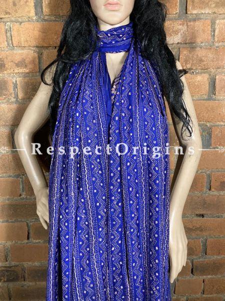Exquisite Silken Kantha Embroidered Blue Stole, Dupatta, Shawl; RespectOrigins.com