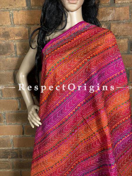 Appealing Silken Kantha Embroidered Pink & Orange Stole, Dupatta, Shawl; RespectOrigins.com