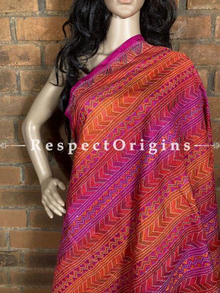 Magnificent Silken Kantha Embroidered Orange and Pink Stole, Dupatta, Shawl; RespectOrigins.com
