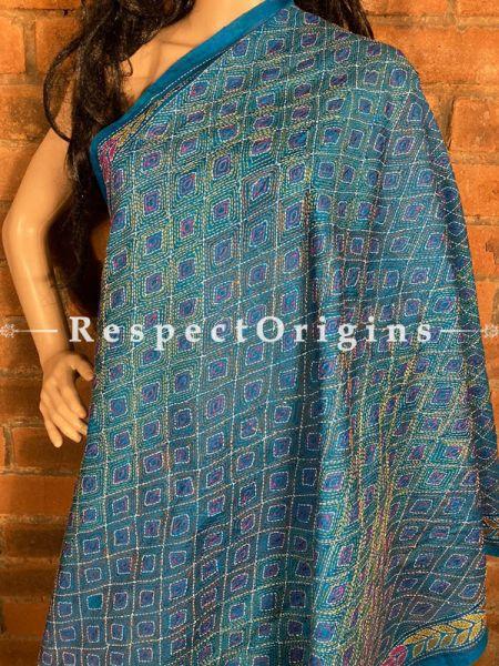 Charming Silken Kantha Embroidered Peacock Blue Stole, Dupatta, Shawl; RespectOrigins.com