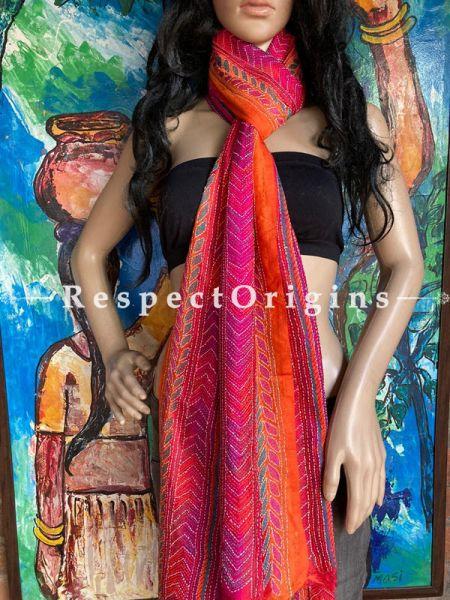 Gorgeous Silken Kantha Embroidered Orange and Pink Stole, Dupatta, Shawl; RespectOrigins.com