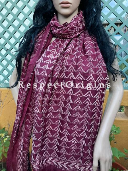 Ethnic Silken Kantha Embroidered Rusty Red, Dupatta, Shawl; RespectOrigins.com