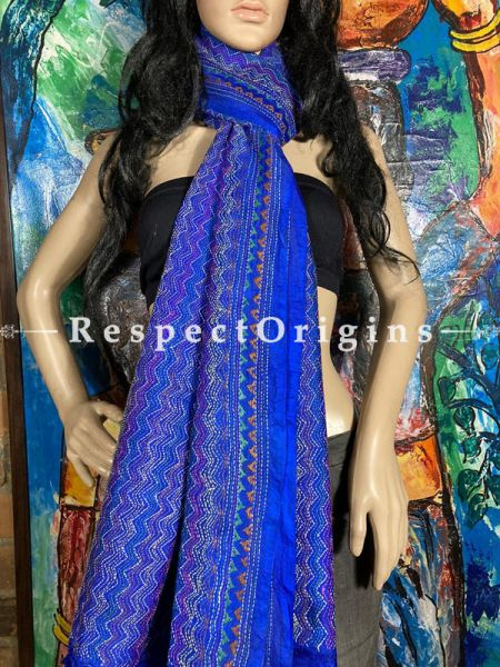 Beautiful Silken Kantha Embroidered Blue Stole, Dupatta, Shawl; RespectOrigins.com