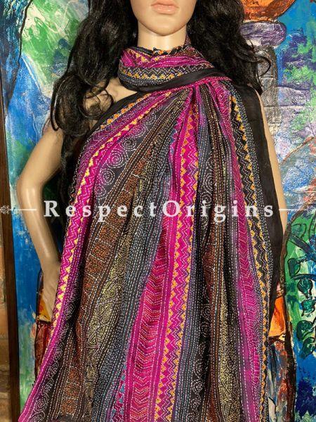 Magnificent Silken Kantha Embroidered Multicoloured Stole, Dupatta, Shawl; RespectOrigins.com