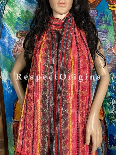 Delightful Silken Kantha Embroidered Yellow and Orange Stole, Dupatta, Shawl; RespectOrigins.com