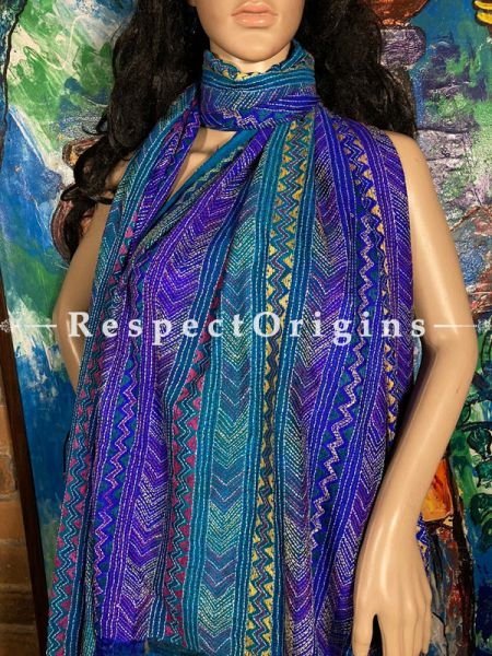 Elegant Silken Kantha Embroidered Blue Stole, Dupatta, Shawl; RespectOrigins.com