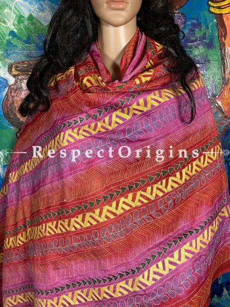Dazzling Silken Kantha Embroidered Multicoloured Stole, Dupatta, Shawl; RespectOrigins.com