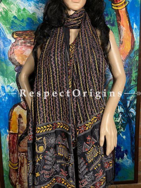 Exquisite Silken Kantha Embroidered Black Stole, Dupatta, Shawl; RespectOrigins.com